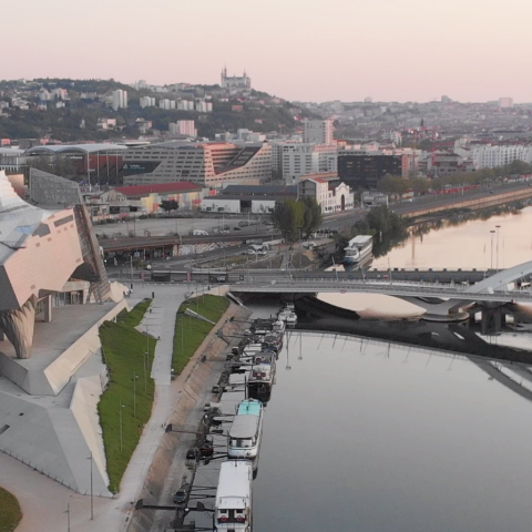 Drone filming of the lockdown Lyon city