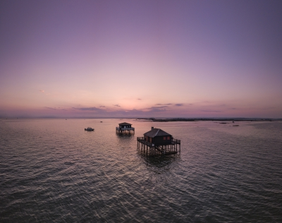 Drone photography of Cabanes Tchanquées, Arcachon, Gironde, France