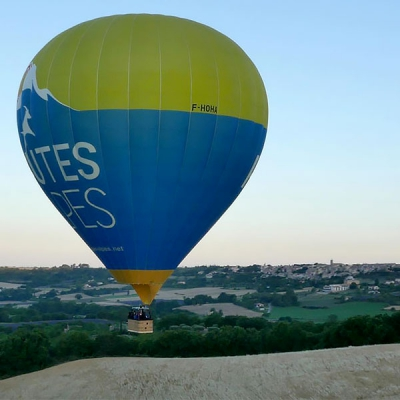 Aerial photo taken during a drone shoot for air balloon tracking, Drome, France