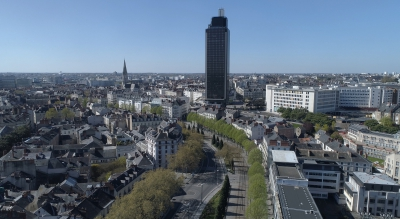 Tower Bretagne in Nantes city in April 2020 during the lockdown Covid-19