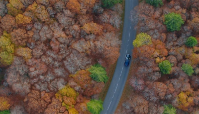 Aerial photography of a Car follow in a forest, shot by UAV