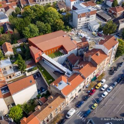Photo by drone - Nina Simone Music Conservatory - Romainville - Department Seine-Saint-Denis - Paris region