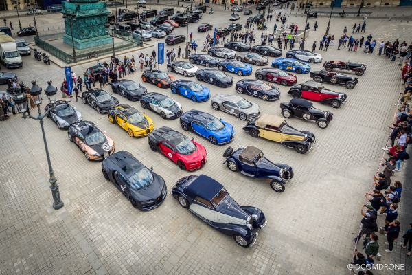 Bugatti Vendome Paris 2019 - Photo avec mât télescopique DCOMDRONE Dollet